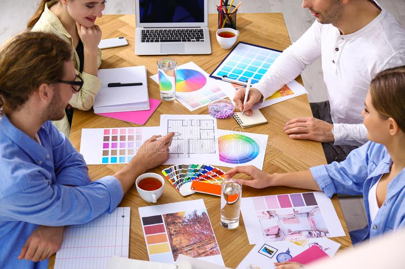 Professional team of interior designers working royalty free stock photo