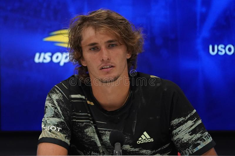 Professional tennis player Alexander Zverev of Germany during press conference after his 2019 US Open third round match royalty free stock photos