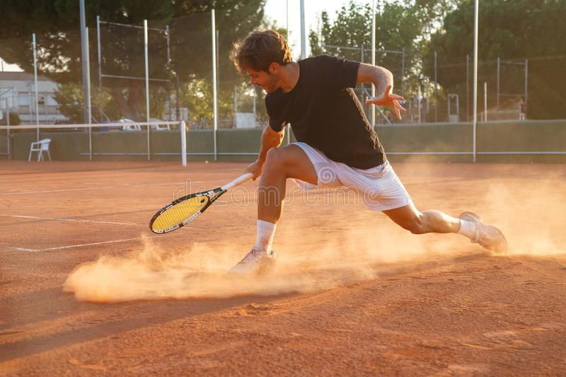 Professional tennis player on court royalty free stock photo