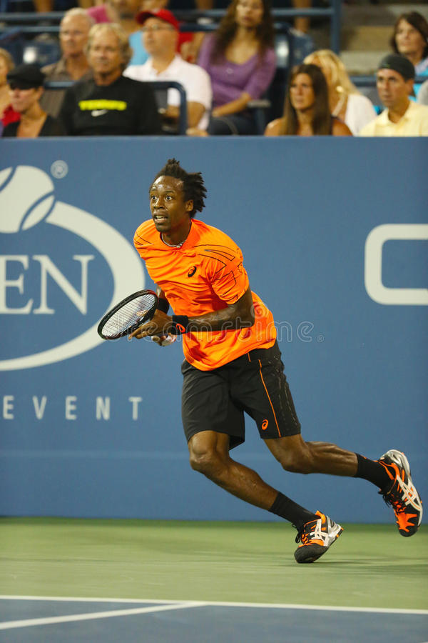 Professional Tennis Player Gael Monfils During Second Round Match At US Open 2013 Against John Isner Editorial Photo