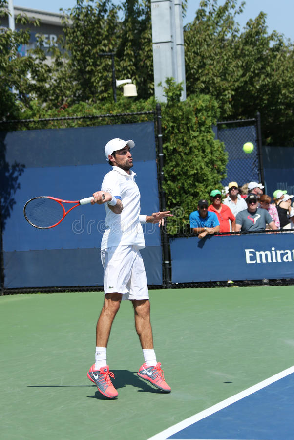 Professional tennis player  Jeremy Chardy from France during first round match at US Open 2013