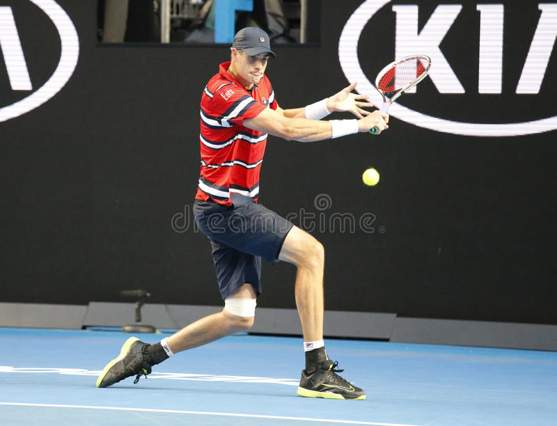Professional tennis player John Isner of United states in action during his round 4 match at Australian Open 2016. MELBOURNE, AUSTRALIA - JANUARY 25, 2016 royalty free stock photo