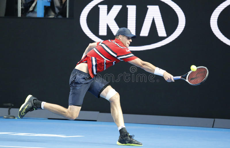 Professional tennis player John Isner of United states in action during his round 4 match at Australian Open 2016. MELBOURNE, AUSTRALIA - JANUARY 25, 2016 royalty free stock photography