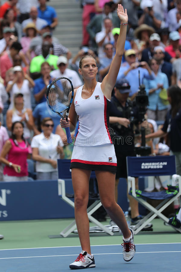 Professional tennis player Karolina Pliskova of Czech Republic celebrates victory after her round four match at US Open 2016. NEW YORK - SEPTEMBER 5, 2016 stock photo
