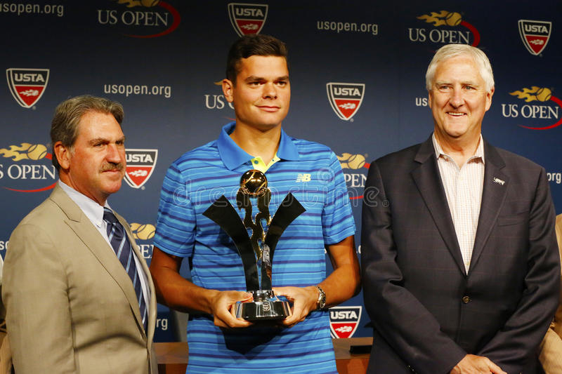 Professional tennis player Milos Raonic during 2014 Emirates Airline US Open Series trophy presentation stock photography