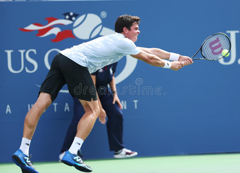 Download Professional Tennis Player  Milos Raonic During Third Round Singles Match At US Open 2013 Editorial Stock Image - Image: 35503124