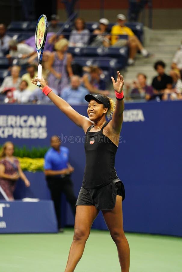 Professional tennis player Naomi Osaka celebrates victory after 2018 US Open semi-final match stock images