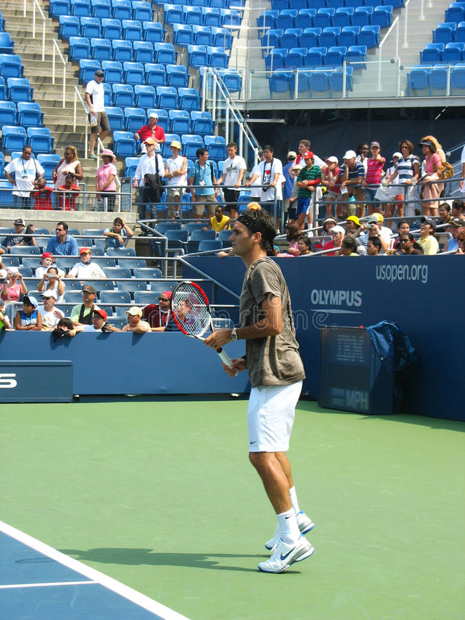 Professional Tennis Player Roger Federer Practices For US Open Editorial Stock Image