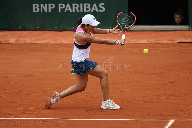 Professional tennis player Silvia Soler Espinosa of Spain in action during her second round match at Roland Garros. PARIS, FRANCE- MAY 28, 2015 :Professional stock photos