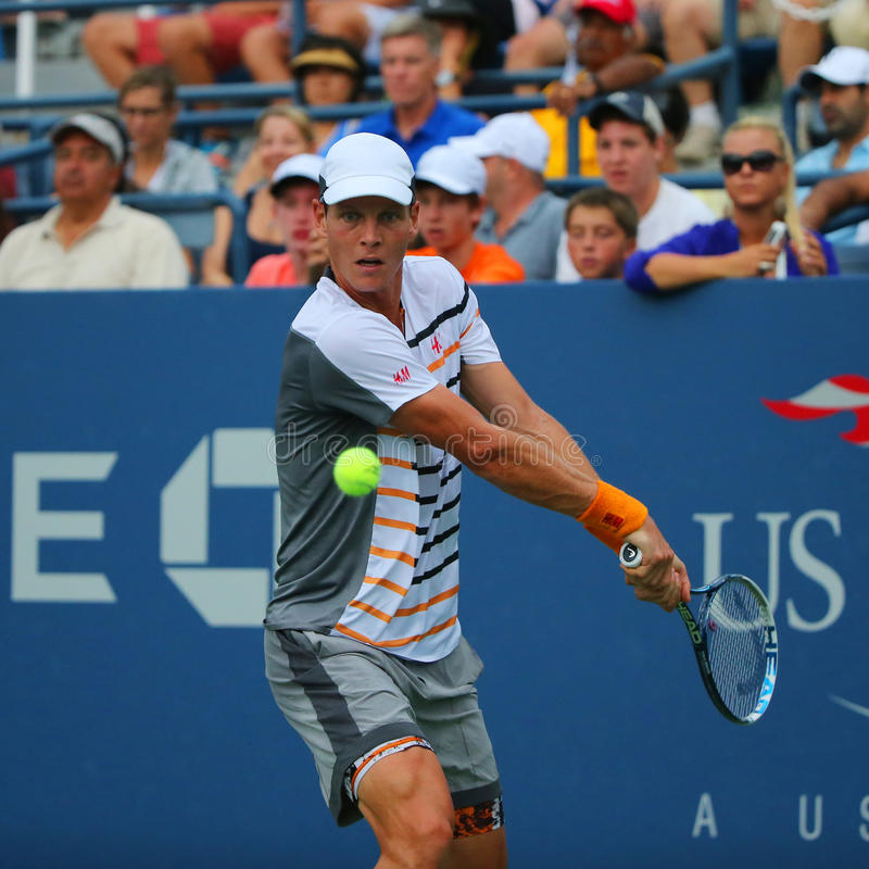 Professional tennis player Tomas Berdych from Czech Republic during US Open 2014 round 3 match. NEW YORK - AUGUST 31, 2014: Professional tennis player Tomas royalty free stock image