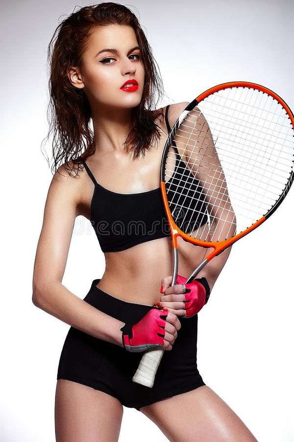 Download Professional Tennis Player Woman Model With Bright Stock Photo - Image: 31684740