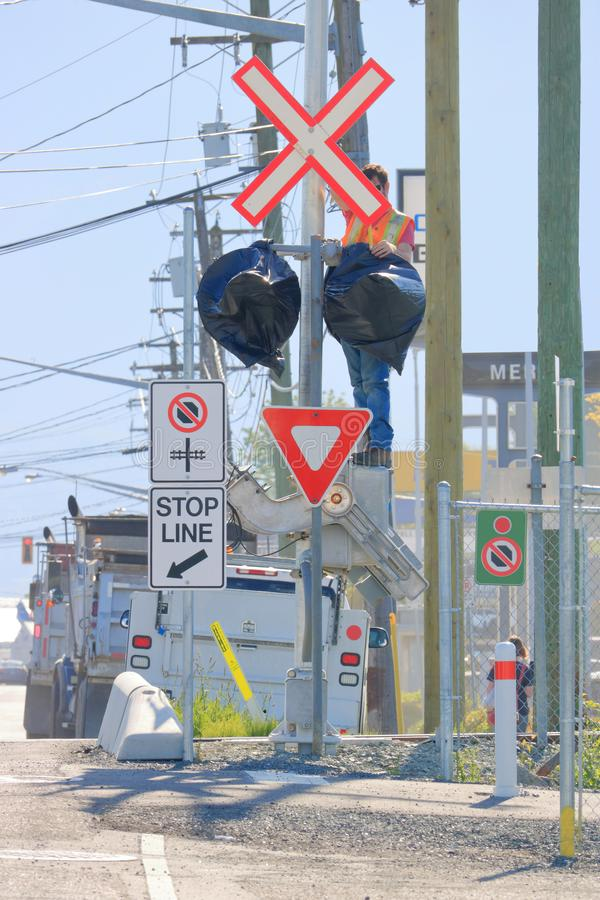 Installing Urban Train Signals royalty free stock photography