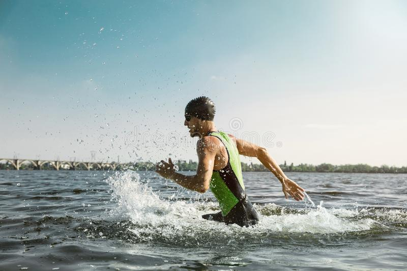 Professional triathlete swimming in river`s open water. Man wearing swim equipment practicing triathlon on the beach in summer`s day. Concept of healthy stock image