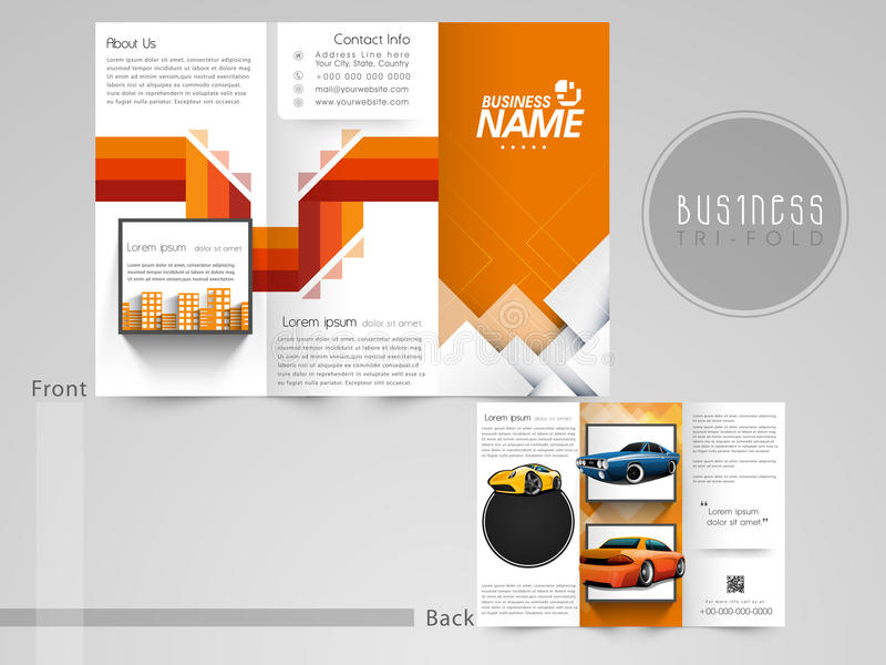 Professional trifold brochure, flyer or catalog. Professional trifold brochure, flyer or catalog for automobile sector vector illustration