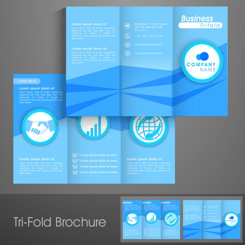 Professional Trifold Brochure Template Or Flyer For Business Stock