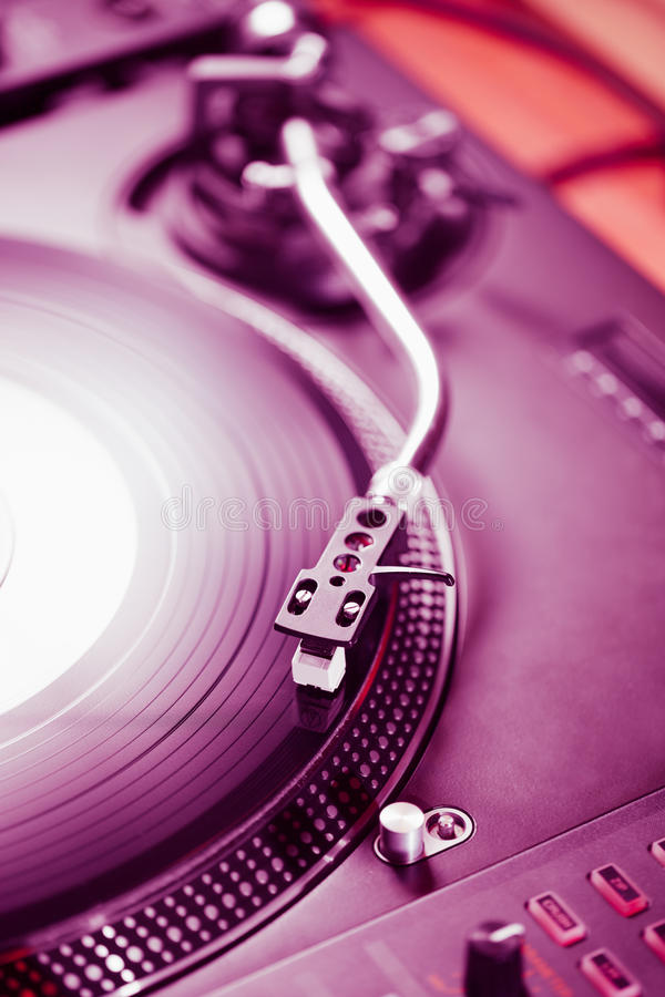Professional turntable audio vinyl record music player. Turntable vinyl record player, analog sound technology for DJ playing analog and digital music. Close up stock image