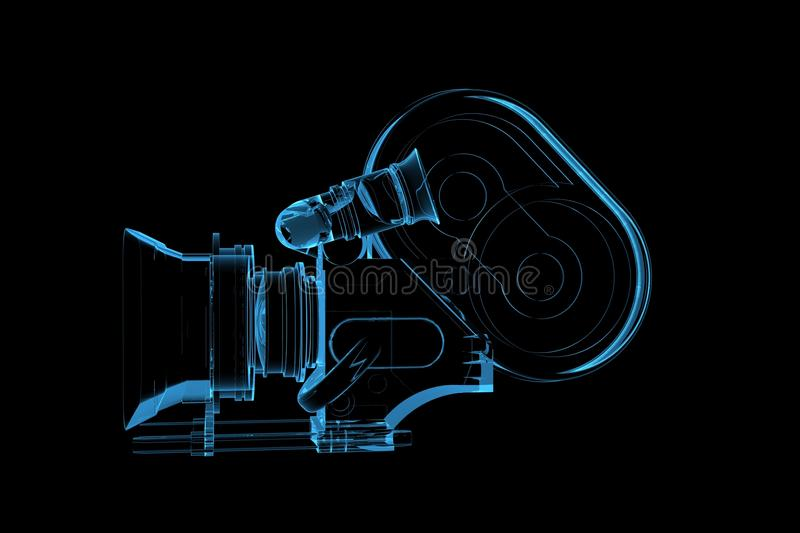 Professional video camera 3D rendered xray blue. Transparent royalty free illustration
