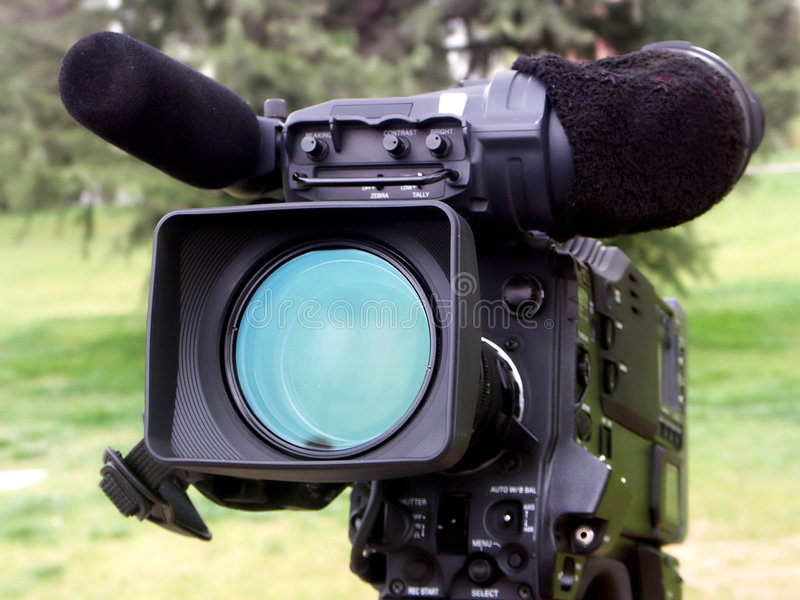 Professional video camera. Professional digital video camera.Plan to shoot outdoors stock photo