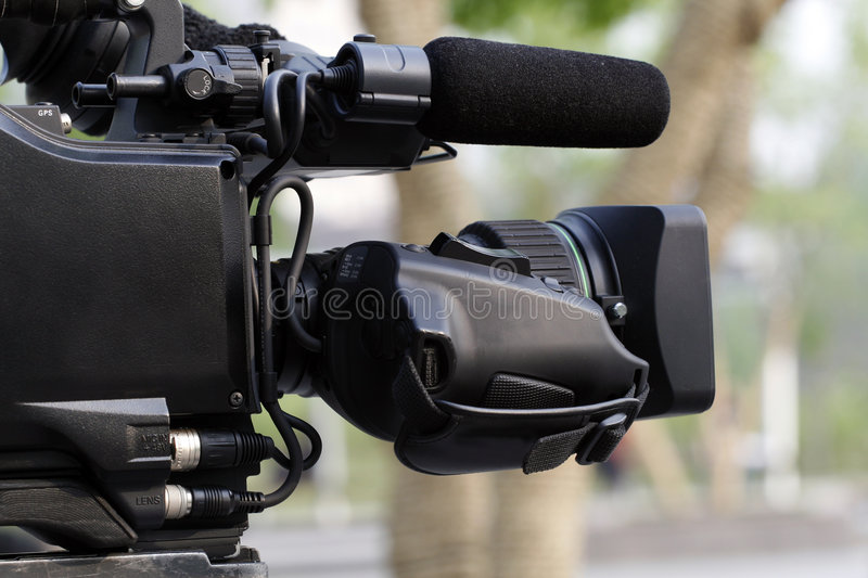 Professional video camera. royalty free stock image