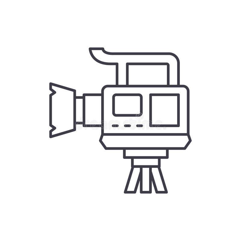 Professional video camera line icon concept. Professional video camera vector linear illustration, symbol, sign royalty free illustration