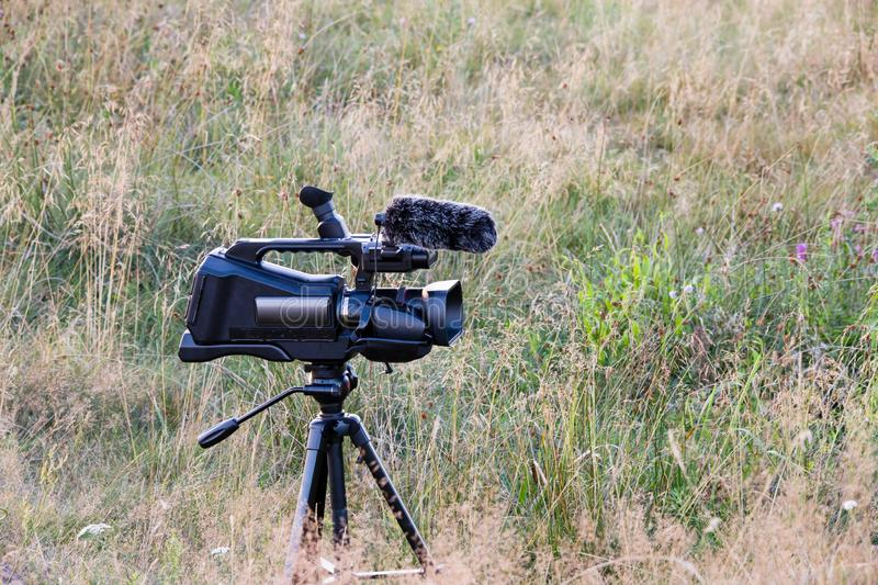 Professional video camera on tripod. Documentary filming wildlife. Filmmaking gear at meadow stock photos