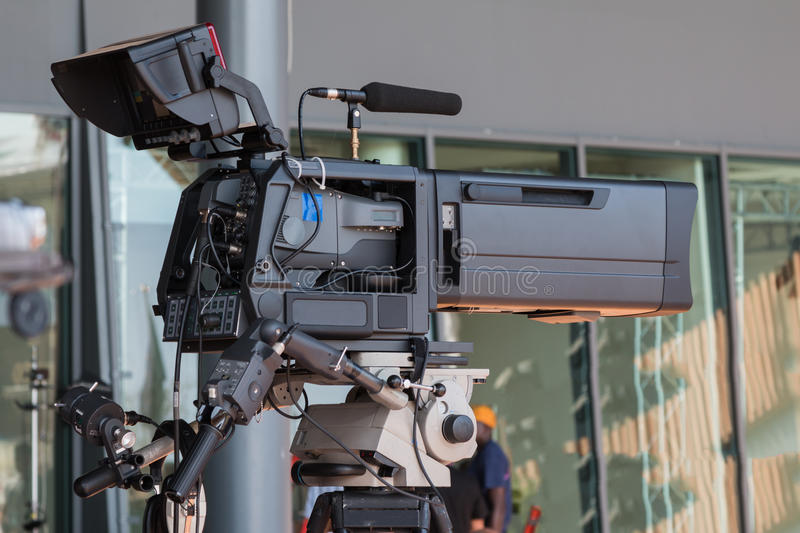 Professional Video Camera for Tv News Broadcasting royalty free stock image