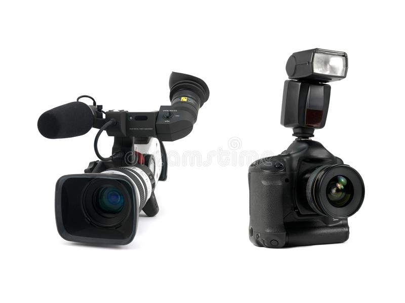 Professional Video Cameras. A Professional video cameras against a white background stock photography