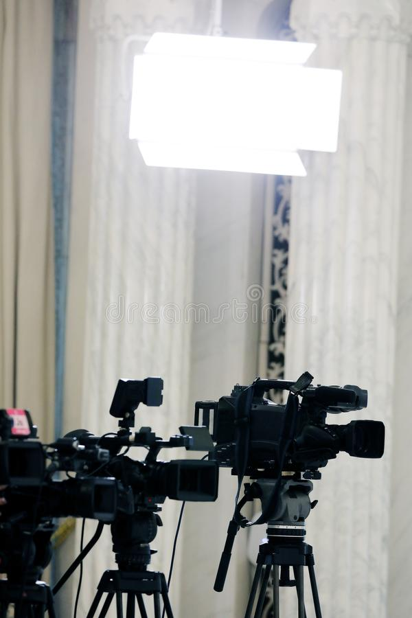 Video cameras on tripod royalty free stock image