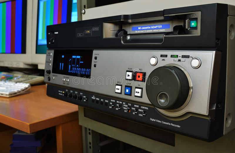 Professional video recorder. Professional recorder (DVCPRO format) in video production studio stock photos