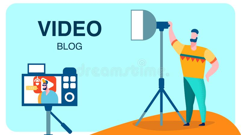 Professional Video Recording Studio Vector Banner royalty free illustration