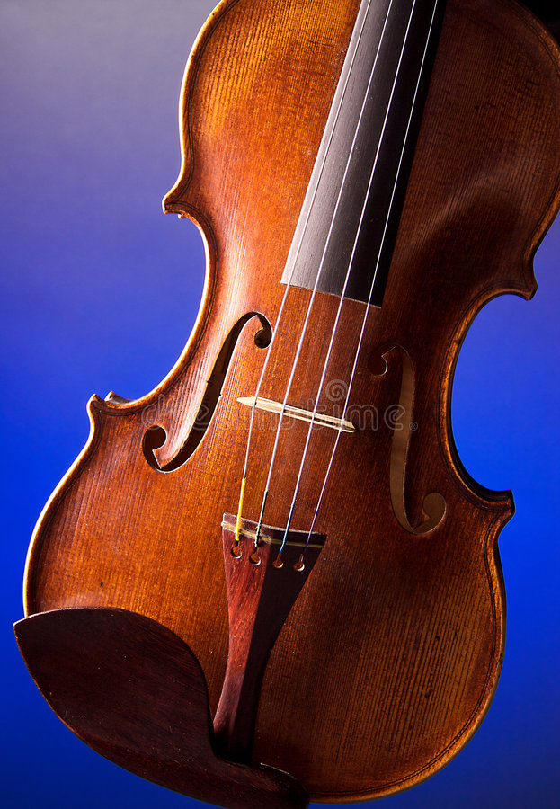Professional Violin Closeup. A professional violin body isolated against a blue background in the vertical or portrait view stock images