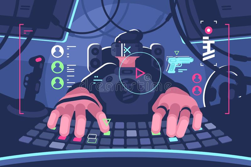 Professional virtual reality computer gamer person. Man in vr glasses playing online game on pc. Flat style. Horizontal. Vector illustration vector illustration
