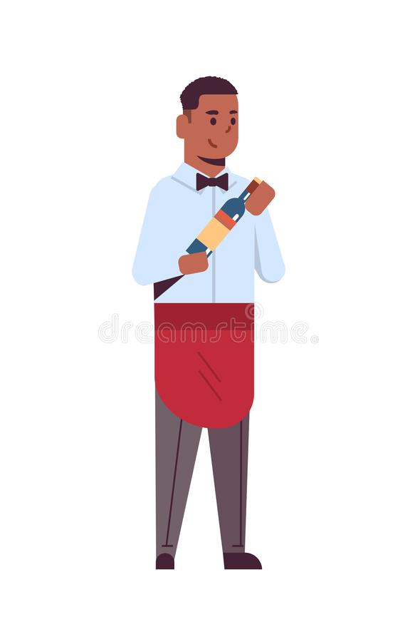 Professional waiter holding bottle of wine african american man restaurant worker in red apron offering alcohol drink. Flat full length white background vector illustration