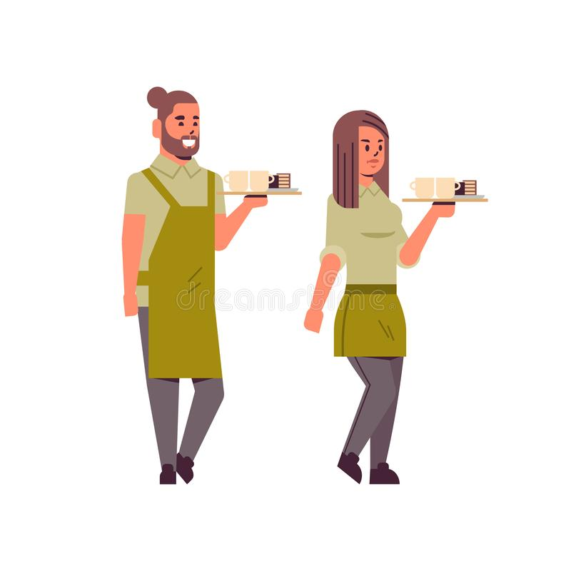 Professional waiters couple holding coffee and cake on tray man woman restaurant workers in apron serving food concept royalty free illustration
