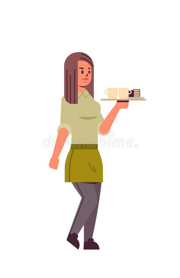 Professional waitress holding coffee and cake on tray woman restaurant worker in apron serving food concept flat full stock illustration