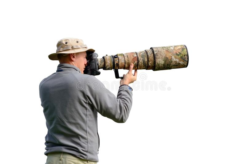 Professional wildlife photographer royalty free stock image