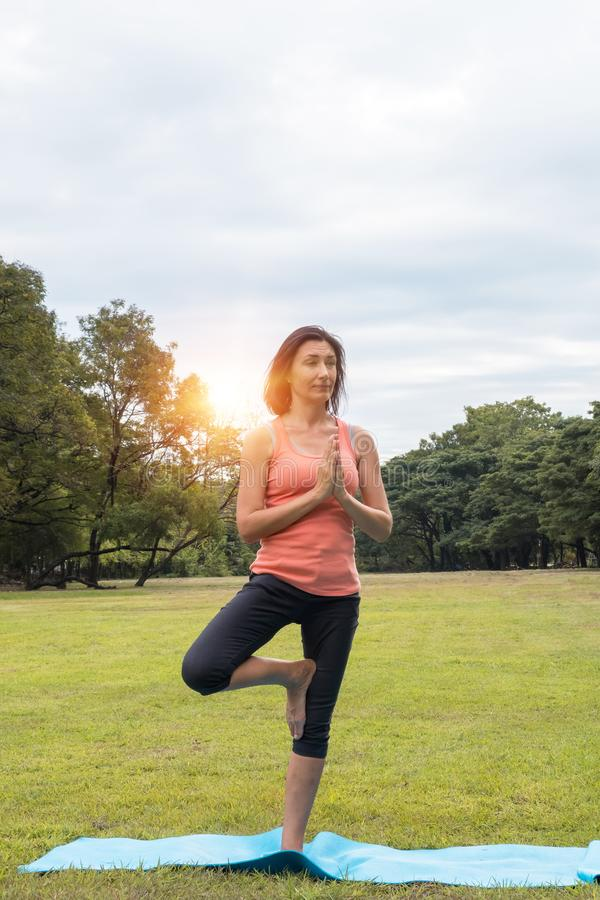 Professional woman practicing yoga, standing in Vrksasana exercise, Tree pose with Namaste, working out, wearing sportswear in na royalty free stock photography