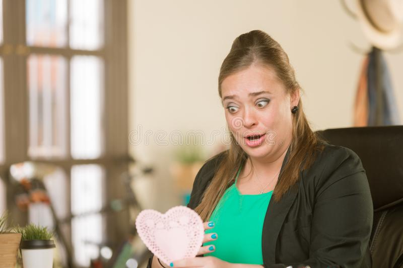 Professional Woman Reacting to Valentine stock images