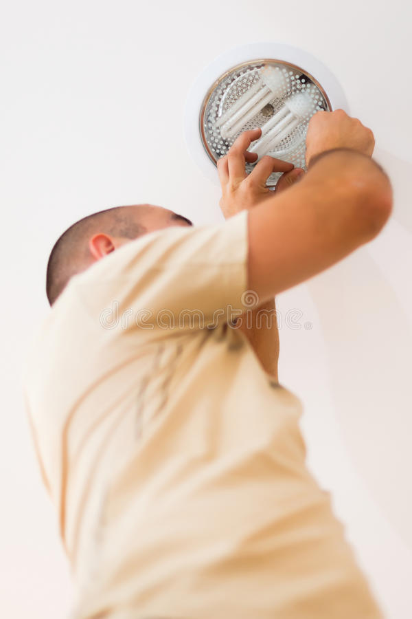Professional Work of an Electrician royalty free stock photos