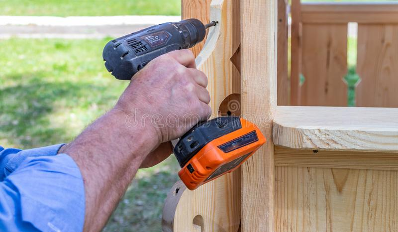Professional work with power tools responsible master royalty free stock photo