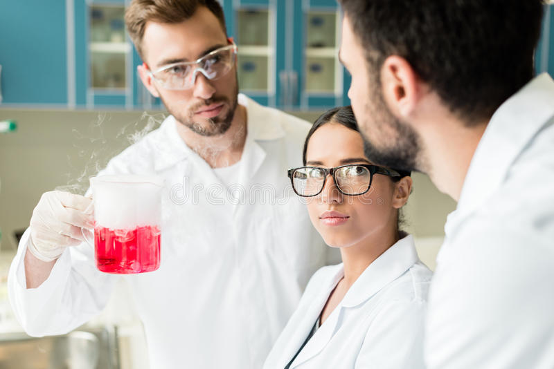 Professional young chemists wearing eyeglasses and lab coats making experiment. Team of professional young chemists wearing eyeglasses and lab coats making royalty free stock photos