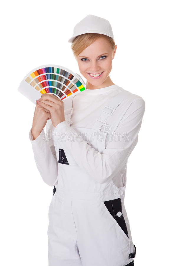 Professional young painter woman stock photos