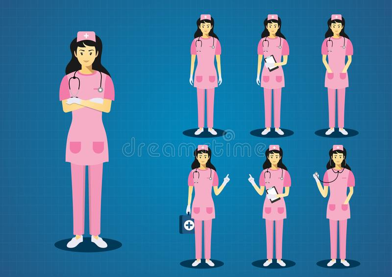 He professional young woman pink scrub nurses. The professional young woman pink scrub nurses long black hairs all action character design set royalty free illustration