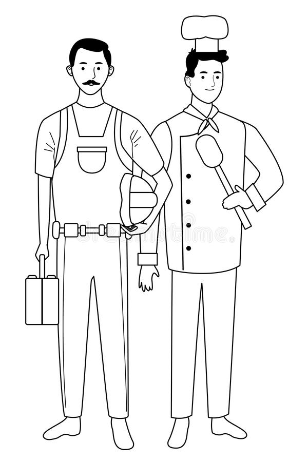 Professionals workers couple smiling cartoons in black and white. Professionals workers contruction and chef with toolbox and spoon smiling cartoons ,vector royalty free illustration
