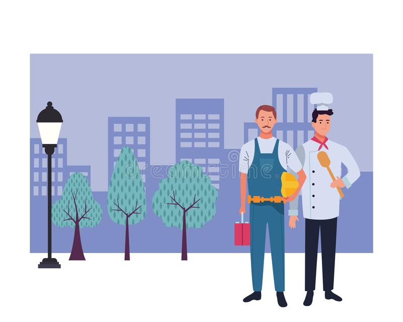 Professionals workers couple smiling cartoons. Professionals workers contruction and chef with toolbox and spoon smiling cartoons in the city urban background stock illustration