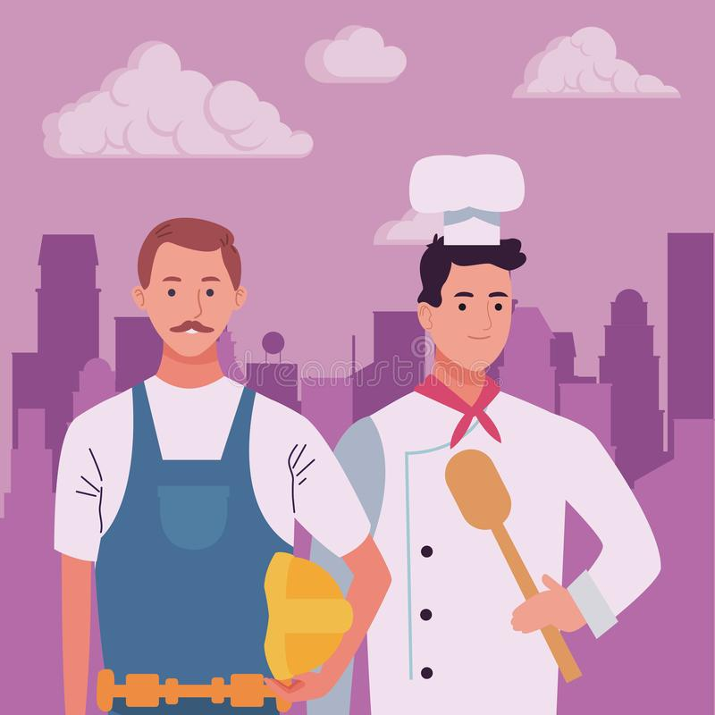 Professionals workers couple smiling cartoons. Professionals workers contruction and chef with toolbox and spoon smiling cartoons in the city urban scenery royalty free illustration