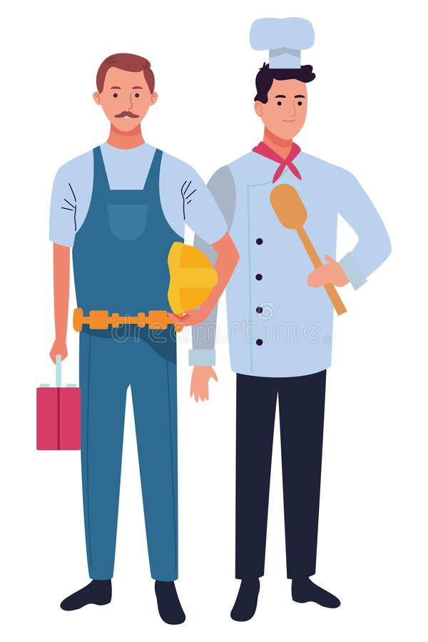 Professionals workers couple smiling cartoons. Professionals workers contruction and chef with toolbox and spoon smiling cartoons ,vector illustration graphic royalty free illustration