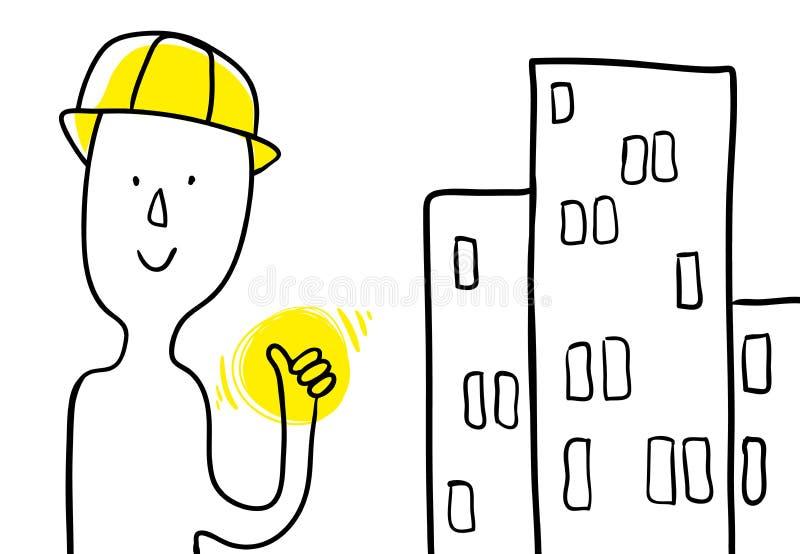 Professione e costruzioni del costruttore del fumetto Manifesto di Minimalistic il costruttore mostra una mano eccellente Uso com illustrazione di stock