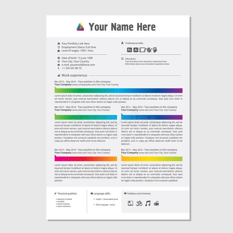 Professioneel cv hervat het ontwerp van het kleurenmalplaatje voor een creatieve persoon - minimalistische vector stock illustratie