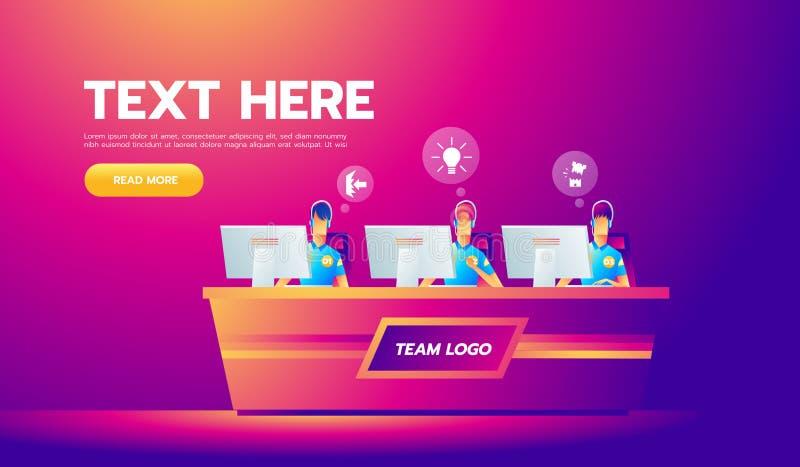 Professioneel gamersteam met hoofdtelefoons bij de lijst bij computer playinng videospelletjes E-sporten teamconcept TEAMbanner vector illustratie